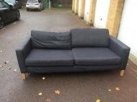 ikea karlstad blue sofa three seater free London delivery