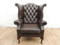Chesterfield Leather Armchair Queen Anne (Delivery)