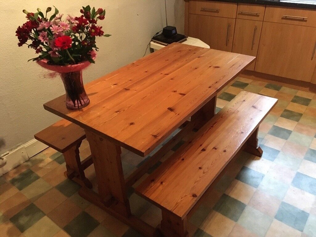Rustic kitchen table with benches. ***Delivery Saturday evening***