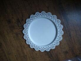 Large white candle dish / tray - lace effect enamel