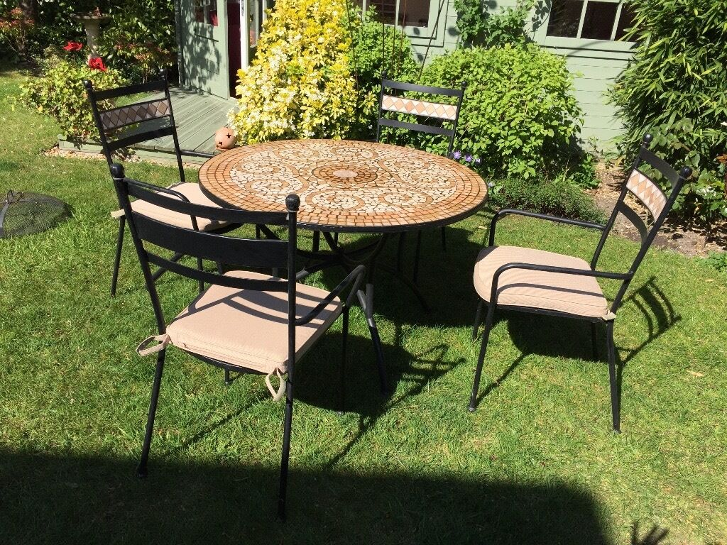 outdoor dining table marks spencer mosaic 4 chairs. Black Bedroom Furniture Sets. Home Design Ideas