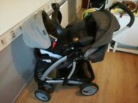 Graco pram carseat which clicks to pram carrycot and extras