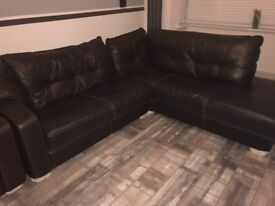 Brown leather l shape sofa with arm chair