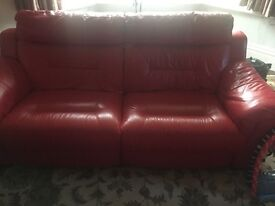 Leather electric recliner suite DFS red