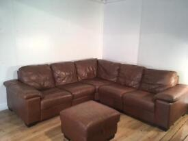Brown real leather corner sofa and puff with free delivery within 10 miles