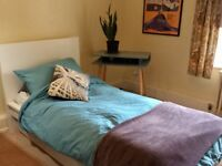 Single White Malm bed 2 years old in average condition. Wooden slats, easy to assemble.