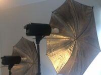2 Studio Continuous Umbrella Light Heads & 1 Redhead