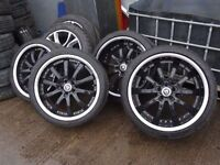 """set of 20"""" genuine deep dish jaguar alloys with new dunlop sport tyres all round quick sale £500"""