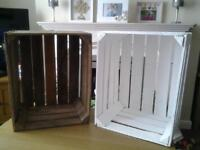 3 Sturdy wooden crates painted white £9 each or £24 for all 3 (unpainted crates SOLD)