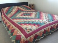 Patchwork Quilted Bedspread ... beautiful colours