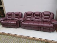 2 Seat + 3 Seat - Leather Sofas - Ox Blood Red - Good Condition