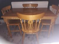 Wood table and 4 chairs collection only
