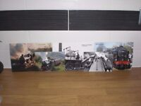 FIVE REPRINT COLOUR ( 3 ) / B & W ( 2 ) PHOTOGRAPHS OF TRAIN ENGINES - ALL IN EXCELLENT CONDITION