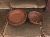 Lovely VINTAGE WOODEN / TEAK FRUIT BOWL, plus a second teak bowl