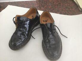 Ladies Dr.Martens, Black patent, size 7/41. Very little wear.