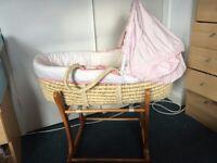 Moses basket, stand, mattress, sheets & blanket