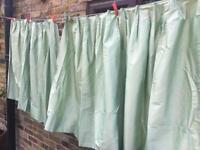 Raw silk green curtains x2