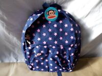 Paul Frank Childs Backpack, Blue with Pink Stars. New with Tags