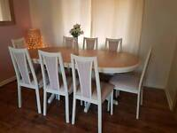Solid pine shabby chic table and 8 chairs