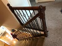 Staircase banister, steel spindles and newel posts