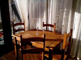 Table and 4 chairs,
