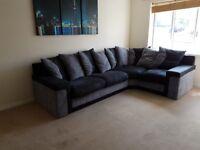 Large DFS Fabric & Suede Corner Sofa