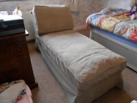 Ikea Ektorp chaise longue with Velling beige cover