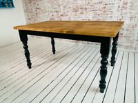 Any Size, Any Colour! Reclaimed Style Pine Kitchen Dining Table Rustic Farmhouse
