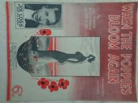 Vintage Sheet music - 1936 - WHEN THE POPPIES BLOOM AGAIN