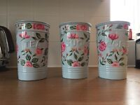 Tea coffee sugar canisters with matching bread bin