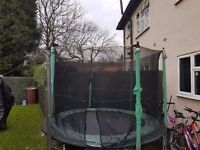 8ft trampoline. Mat and net in good condition. Mat that covers springs will need replacing.
