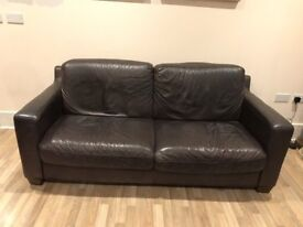 BROWN LEATHER 3+2 SEATER SOFAS FOR SALE- BUY NOW CHEAP DELIVERY TODAY OR SATURDAY SOME AREAS - £225