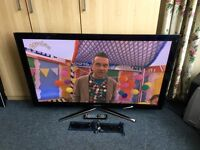 SAMSUNG 50 INCH FULL HD 1080P 3D PLASMA TV WITH FREEVIEW HD BUILT IN.