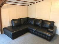 Large full black leather , corner sofa suite