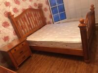King Size Superior Antique Pine Bed + Dreams Sleepeezee Mattress + Chest Drawers