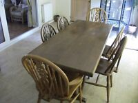 REFECTORY TABLE AND 6 WHEELBACK CHAIRS 2 ARE CARVERS