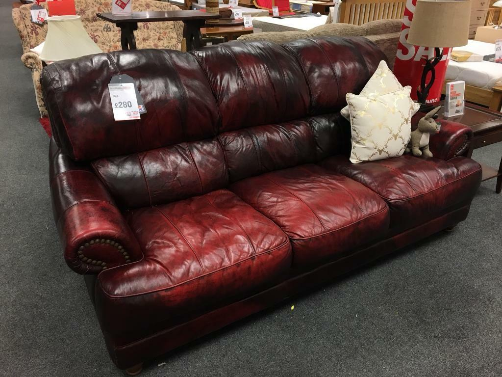 Bhf Derby Ox Blood Colored Leather Sofa
