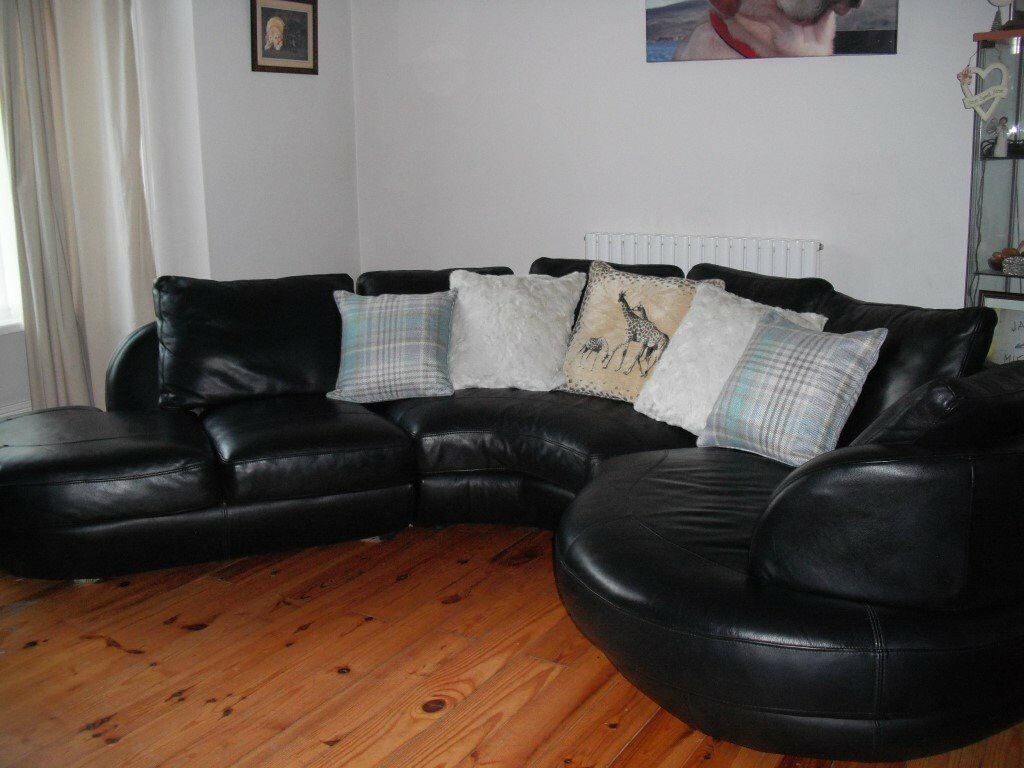 4 5 Seater Black Genuine Leather Sofa With Chaise Effect From Dfs  ~ Black Genuine Leather Sofa