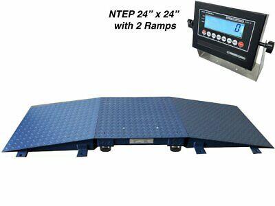 New Industrial Ntep Floor Scale 24 X 24 2 Ramps 5000 Lbs. X 1lb Lcd Display