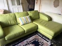 Dfs lime green leather corner sofa and chair