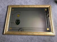 Renni Mackintosh Style Mirror With Gold Frame