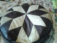 Faux leather brown/beige poufee/ footstool