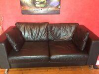 Black leather 2 seater sofa