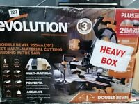 EVOLUTION R255SMS-DB+ - 255mm Double Bevel Sliding Mitre Saw