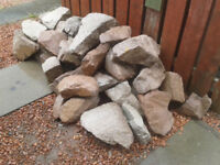 RED & BLONDE GRANITE BOULDERS, IDEAL FOR WALL, ROCKERY ETC VARIOUS SIZES