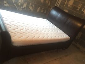 King Size Leather Sleigh Bed with Mattress - immaculate condition