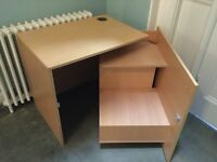 Computer table cube: space saving, clutter hiding, tech tidy