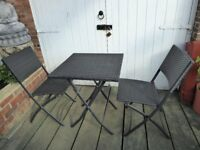 Folding Table and Chairs, Rattan Effect, hardly used, weatherproof