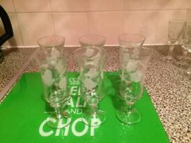 6 small hand painted glasses