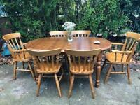 PINE TABLE AND 6 CHAIRS FREE DELIVERY LDN🇬🇧EXTENDABLE TABLE